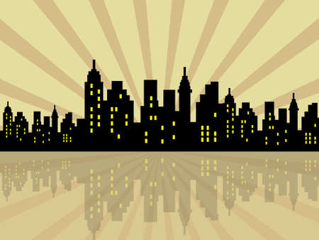 metaphorical: Stylized city silhouette against retro background Stock Photo