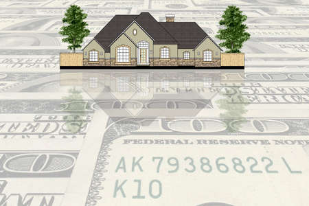 House against USA dollars background