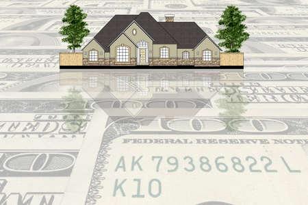 House against USA dollars background photo