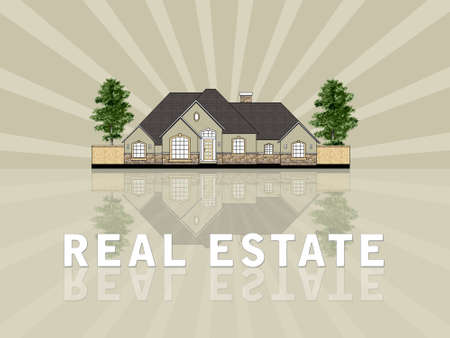 Real estate illustration against retro background illustration