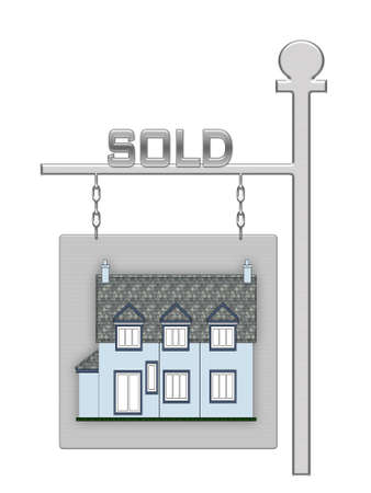 Real estate board with a house illustration Stock Illustration - 1913843