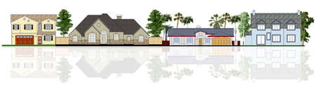 lease: Street illustration, four different houses