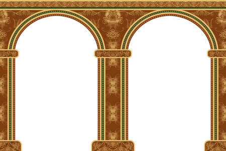 crocket: Arch with ornaments, isolated against white