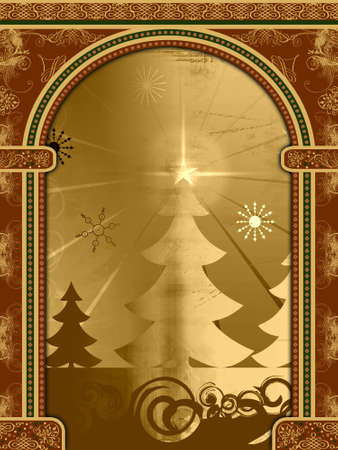 Arch with ornaments and retro Christmas scene Stock Photo - 1954269