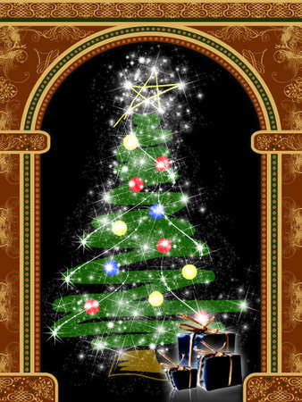 Arch with ornaments and Christmas tree with presents Stock Photo - 1954279