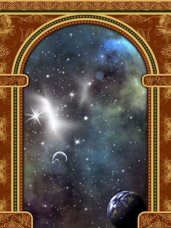 Arch with ornaments and space scene Stock Photo - 1954265