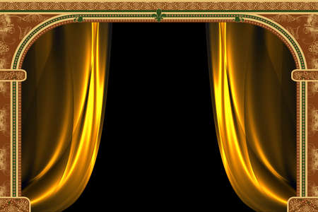 upright: Arch with ornaments and curtain Stock Photo