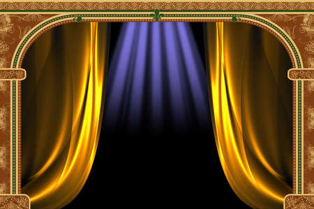 Arch with ornaments, curtain and lights Stock Photo - 1954275