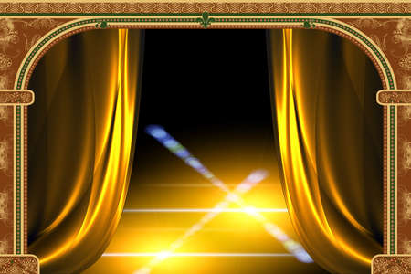 crocket: Arch with ornaments, curtain and lights Stock Photo