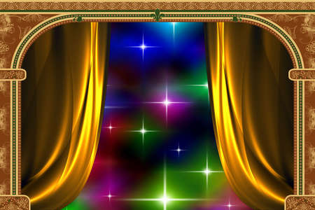 lighting column: Arch with ornaments, curtain and lights Stock Photo