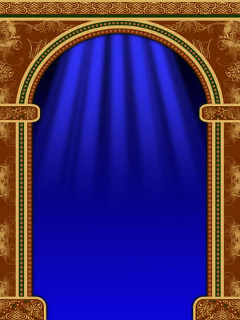 Arch with ornaments, curtain and lights Stock Photo - 1954266