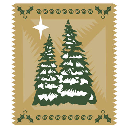 tree trimming: Stylized Christmas card, isolated against white background