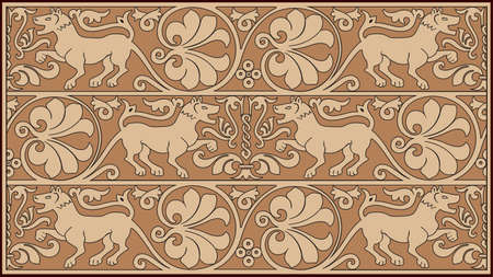 strip a dog: Abstract ornamental design with flora and fauna