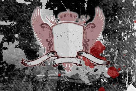 Grunge background with shield and banner Stock Photo - 2011548