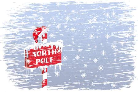 north pole sign: North Pole sign with Santas cap