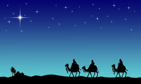 three wise men: Three wisemans and the star of Bethlehem Stock Photo