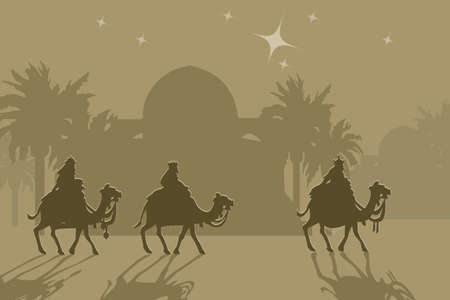 Three wisemans and the star of Bethlehem photo