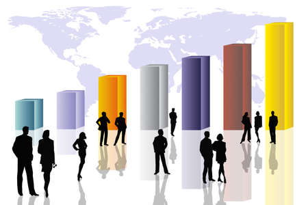 Conceptual business scene with colorful 3D columns, people silhouettes and world map