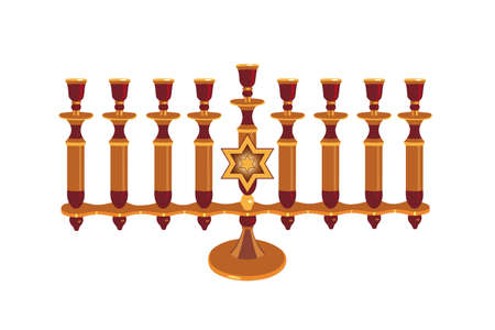 Decorative Menorah isolated against white background photo