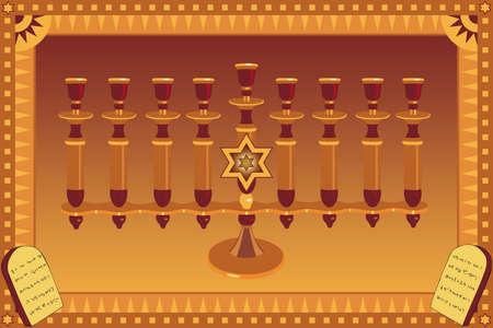 tabernacle: Decorative Menorah and stylized plates with 10 Gods commandments Stock Photo