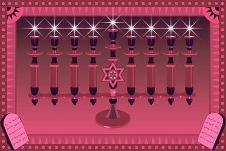 Decorative Menorah and stylized plates with 10 Gods commandments photo