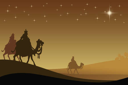 Three wisemans and the star of Bethlehem Stock Photo