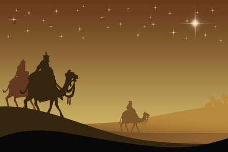 reyes magos: Tres wisemans y la estrella de Bethlehem