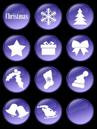 Special Christmas holiday glassy buttons collection Stock Photo - 2085134