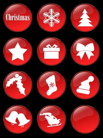 Special Christmas holiday glassy buttons collection Stock Photo - 2085129