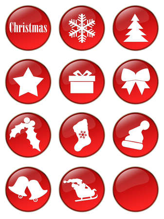 Special Christmas holiday glassy buttons collection Stock Photo - 2085136