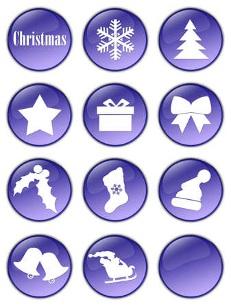 Special Christmas holiday glassy buttons collection Stock Photo - 2085137