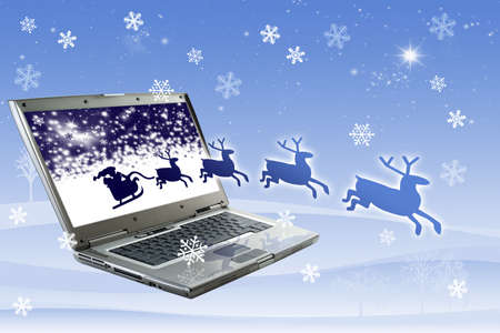 background texture metaphor: Santa Claus is coming from the monitor Stock Photo