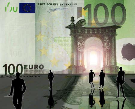 Conceptual: a business team and Euro Kingdom Stock Photo