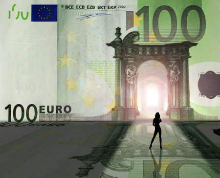 Prostitution conception: a girl entering Euro Kingdom Stock Photo