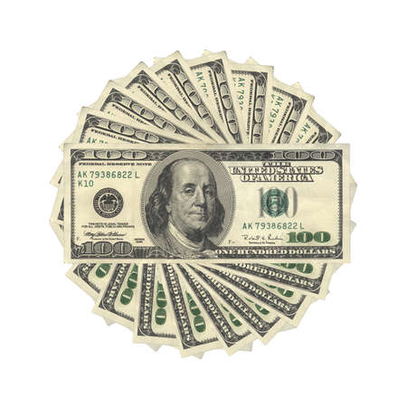 100 US Dollars banknotes, isolated
