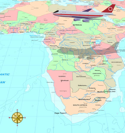 Travel conceptual illustration, a plane over Africa map illustration
