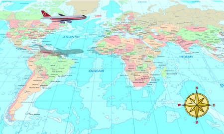 Travel conceptual illustration, a plane over world map