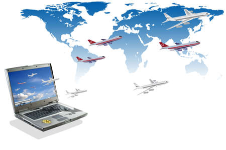 Travel conceptual illustration: internet booking Stock Photo