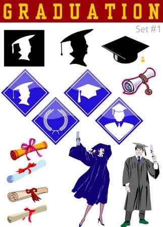 Vector graduation related illustrations set #1 Stock Vector - 3066142