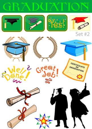Vector graduation related illustrations set #2