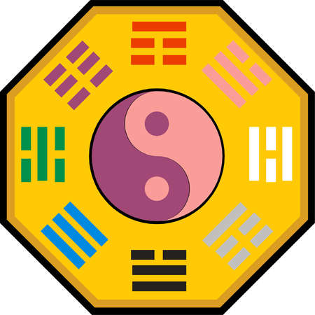 Vector Yin Yang and bagua illustration