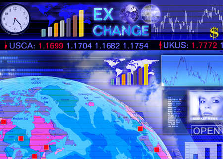 currency exchange: Abstract business concept: foreign currency exchange market scene