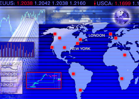foreign: Abstract business concept: foreign currency exchange market scene