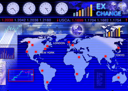 forex: Abstract business concept: foreign currency exchange market scene