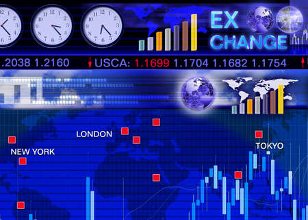 Abstract business concept: foreign currency exchange market scene photo