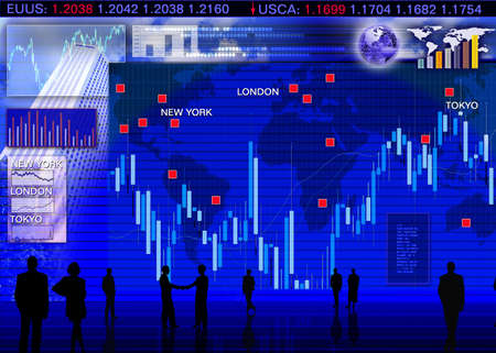 forex trading: Abstract business concept: foreign currency exchange market scene