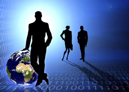 Abstract business and information technologies background photo
