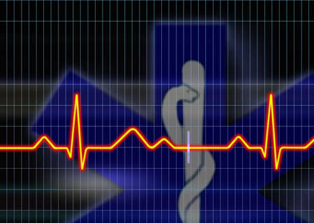 Cardiogram illustration with grid background Stock Illustration - 3210809