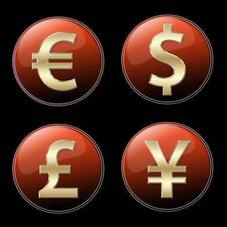 Four different currencies signs buttons Stock Photo - 3227519