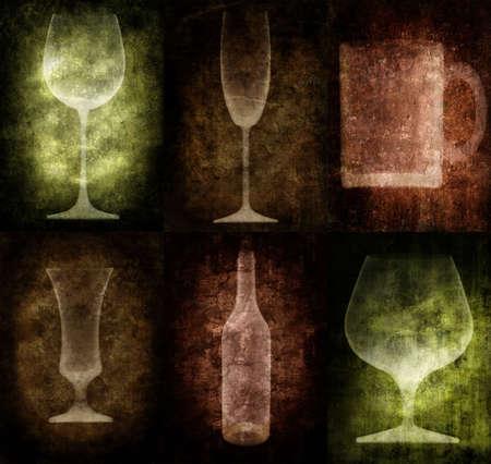 Grunge illustration with bottle and glasses, vintage stylized Stock Illustration - 3227533